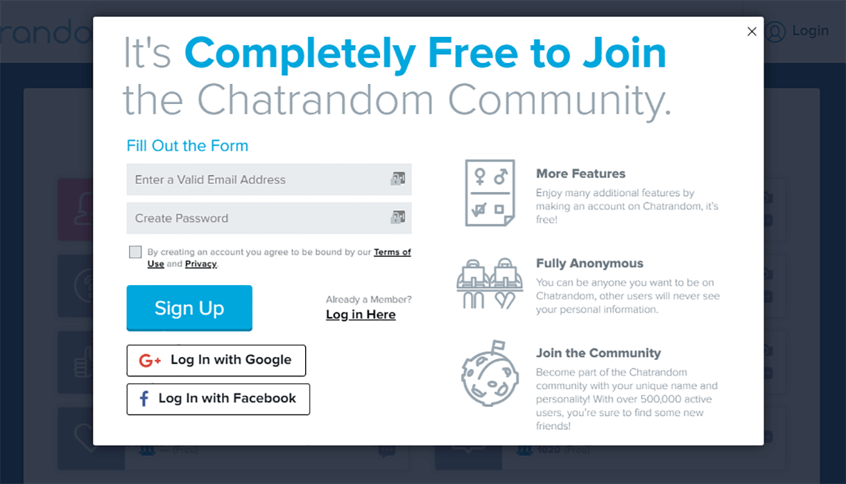 Chatrandom Signup