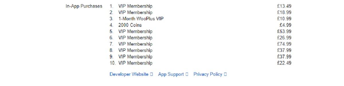WooPlus Price Table UK