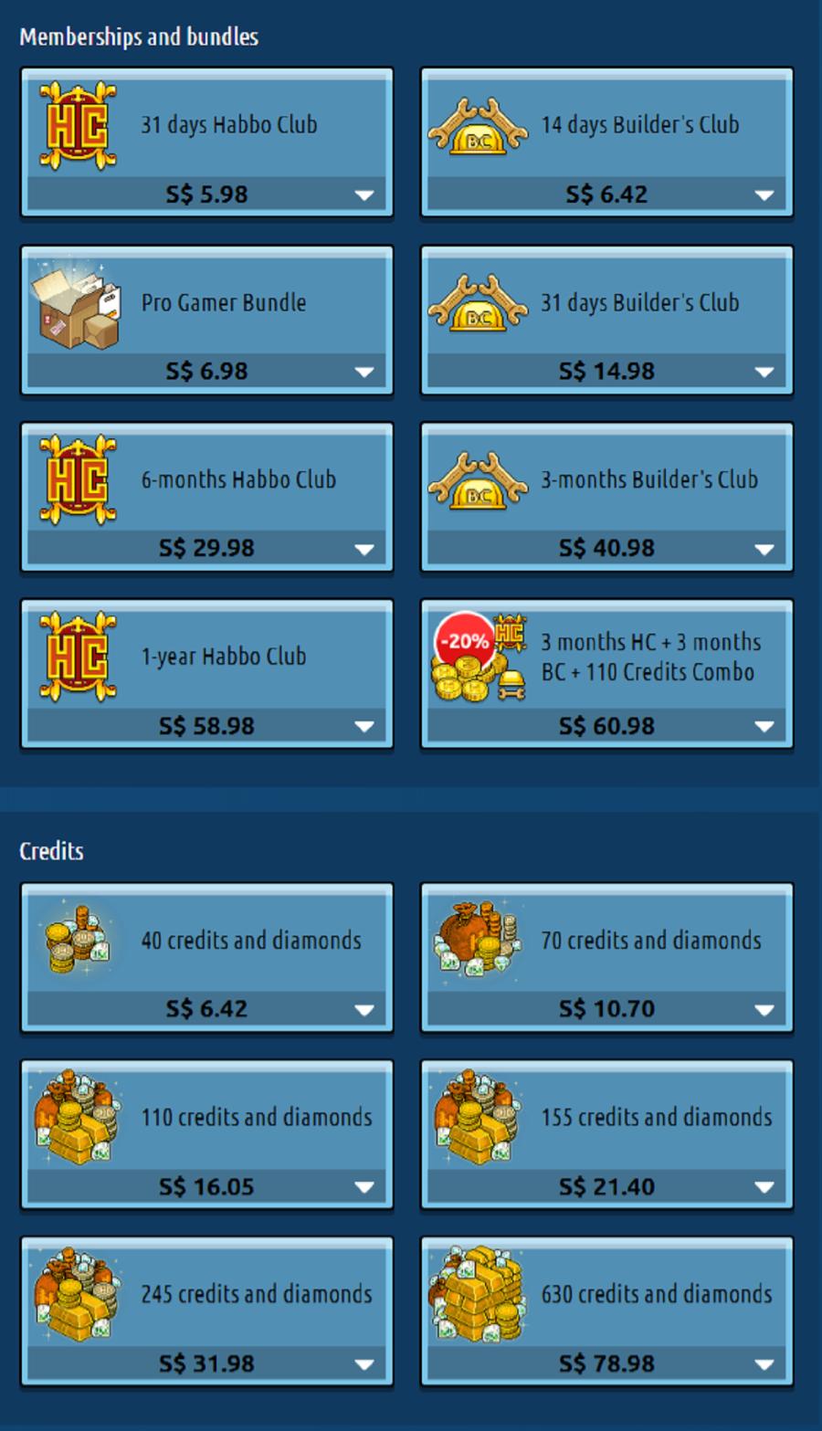 Habbo Prices SG