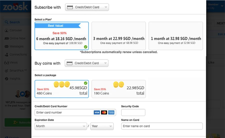 Zoosk Prices SG Updated